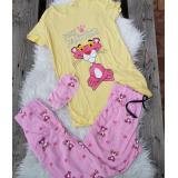 Pijama dama Pink Panther galben