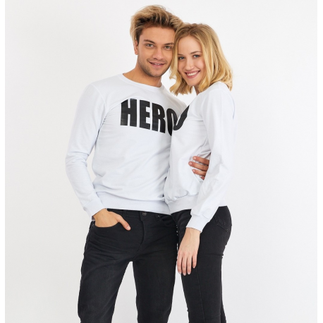 Set bluze pentru El si Ea Hero Alb
