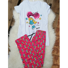 Pijama dama Strumfi Girl alb