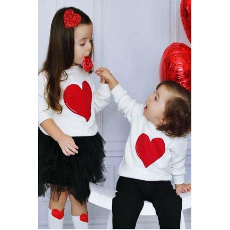 Set bluze Mama-Fiica Heart Alb