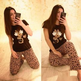 Pijama dama Minnie Leopard Negru