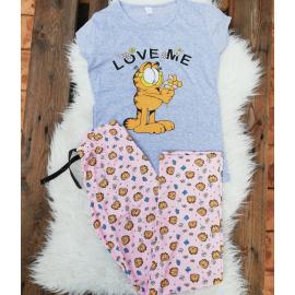 Pijama dama Love Garfield gri