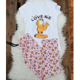 Pijama dama Love Garfield alb