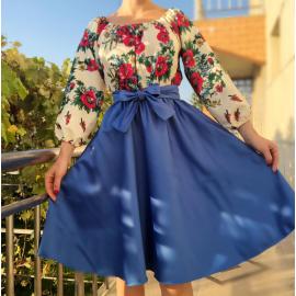 Rochie scurta cu model floral Gypsy albastru