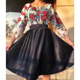 Rochie scurta cu model floral Gypsy negru