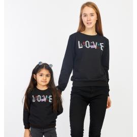 Set bluze Mama-Fiica Love negru