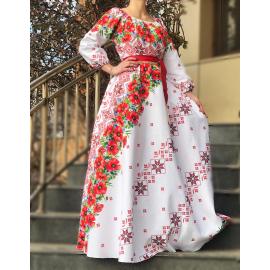 Rochie lunga cu motive traditionale Rosu
