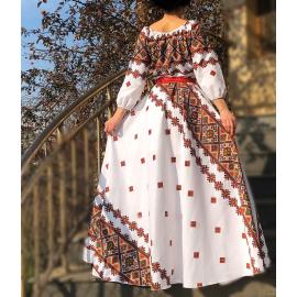 Rochie lunga cu imprimeu geometric Emilia rosu
