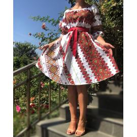 Rochie scurta cu motive traditionale si flori Anastasia