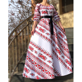 Rochie lunga cu imprimeu Etno