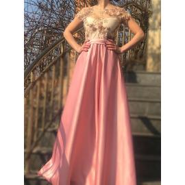 Rochie lunga din tafta Jozefina roz