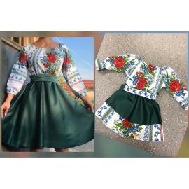 Set rochii Mama-Fiica cu motive traditionale Mara verde