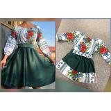 Set rochii Mama-Fiica cu motive traditionale Mara scurta verde