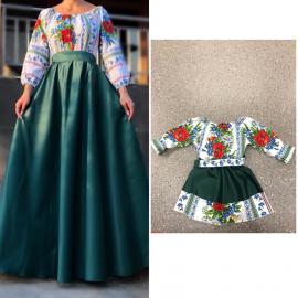 Set rochii Mama-Fiica cu motive traditionale Mara lunga verde