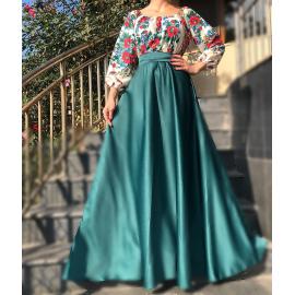 Rochie lunga verde cu model floral Gypsy