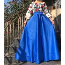 Rochie lunga albastra cu model floral Gypsy