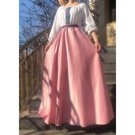 Rochie lunga din tafta cu broderie multicolora Yasmina roz