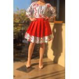 Rochie scurta cu pliuri si motive traditionale Lora rosu