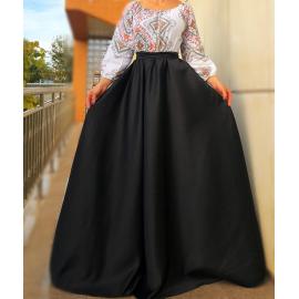 Rochie lunga cu imprimeu geometric Cecilia negru