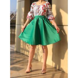 Rochie scurta din tafta cu model floral Tessa verde