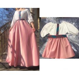 Set rochii Mama-Fiica cu broderie multicolora Yasmina roz