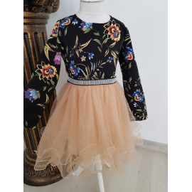 Set rochii Mama-Fiica cu model floral si tull Cinderella
