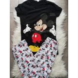 Pijama dama Happy Mickey Negru
