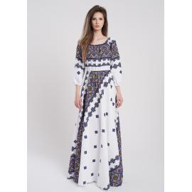 rochie lunga cu imprimeu geometric emilia albastru