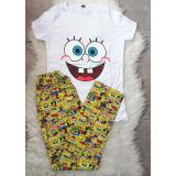 Pijama dama Spongebob alb