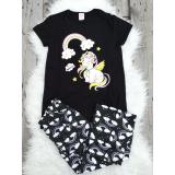 Pijama dama Unicorn Negru