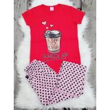Pijama dama Coffee rosu