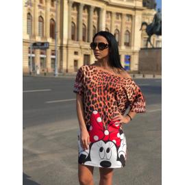 Rochie scurta cu desene Minnie Mouse si print leopard