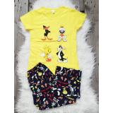 Pijama dama Looney Toons galben