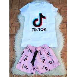 Pijama scurta Tik Tok alb