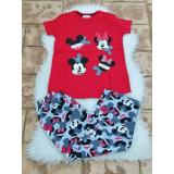 Pijama dama Sweet Mickey si Minnie rosu