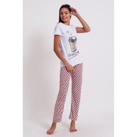 Pijama dama Coffee alb