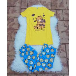 Pijama dama Love Garfield galben