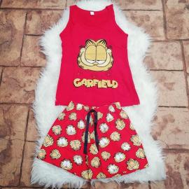 Pijama scurta Garfield rosu