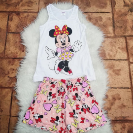 Pijama scurta Minnie Dress roz pal