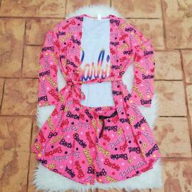 Pijamale 3 piese Barbie Roz