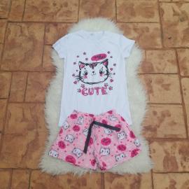 Pijama scurta Good Night alb