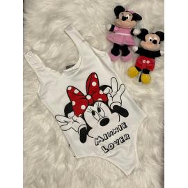 Body dama Minnie Mouse Alb