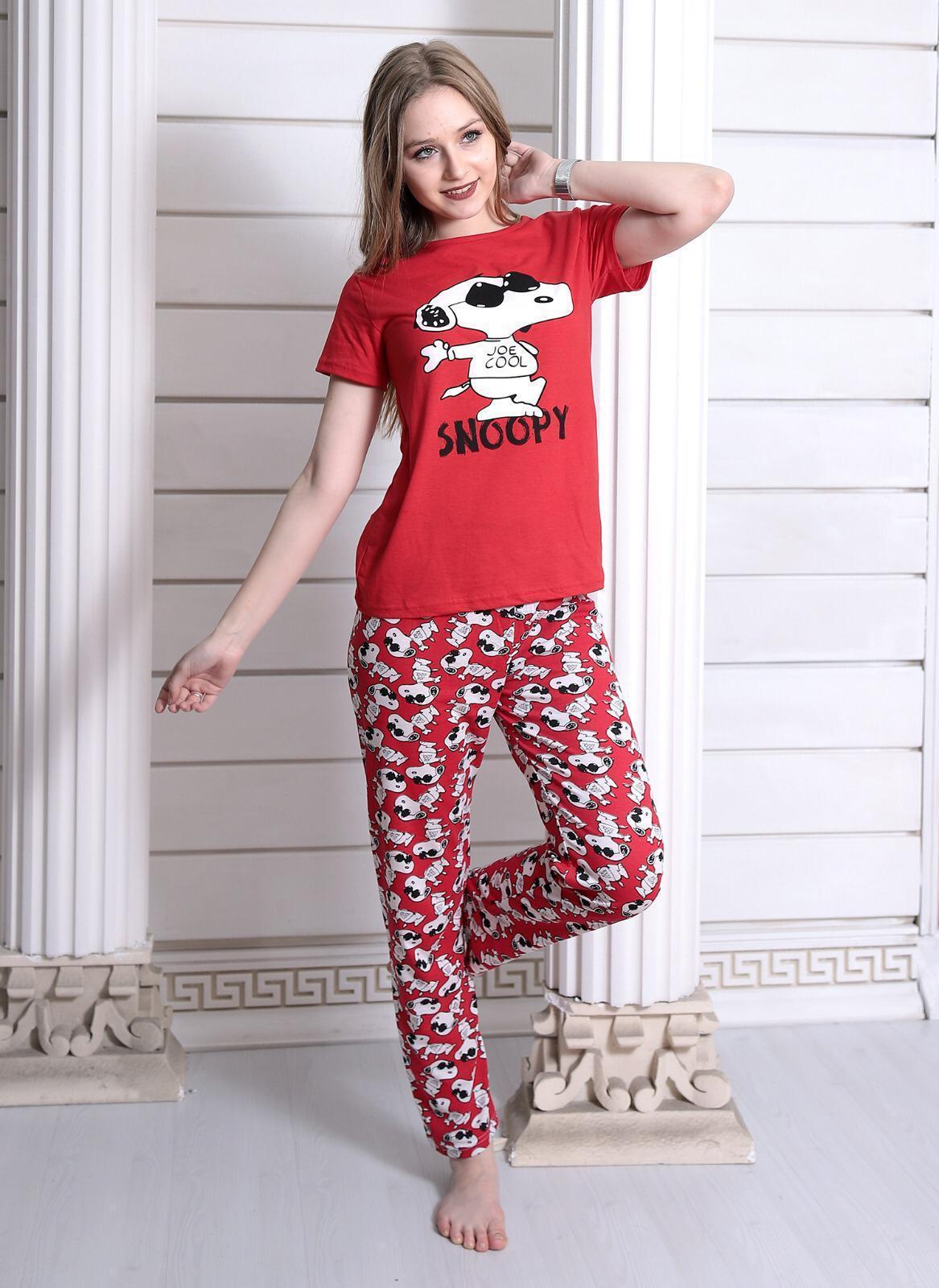 Pijama dama Cool Snoopy Rosu