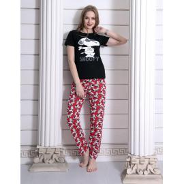 Pijama dama cool Snoopy negru