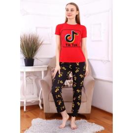 Pijama dama Tik Tok Logo negru