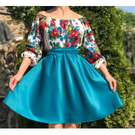 Rochie scurta cu model floral Gypsy turcoaz