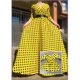 Set rochii lungi mama-fiica cu buline Adnana