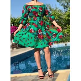 Rochie clos verde cu imprimeu Gipsy Rosa