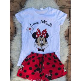 Pijama scurta Love Minnie alb