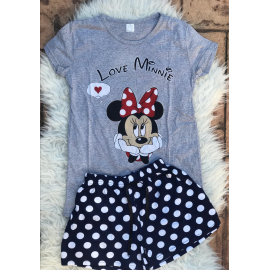Pijama scurta Love Minnie gri